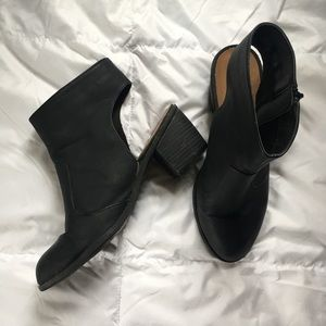 Black Ankle Booties with Cutout Heel